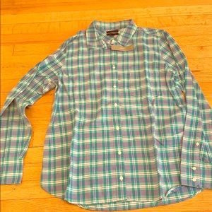 NWT jcrew green stripe flannel button down